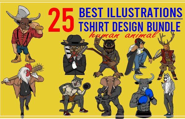 25 best tshirt design bundle human animal