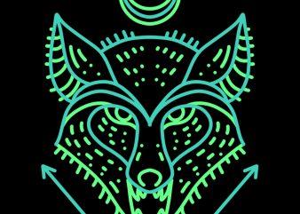 fox line art t shirt design for download