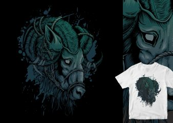 mighty goat head broken t-shirt design png