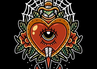 heart and dagger t-shirt design for commercial use