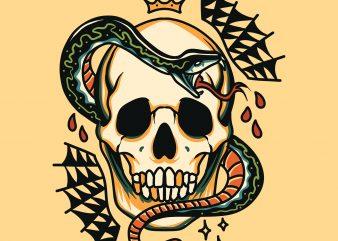 skull and snake tattoo print ready t shirt design