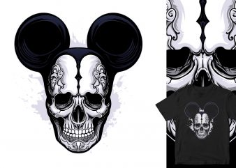 Mickey Mouse Skull print ready t shirt design