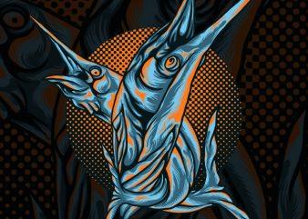 Battle Marlin Tshirt Design