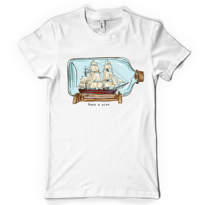 Ship in a bottle graphic t-shirt design