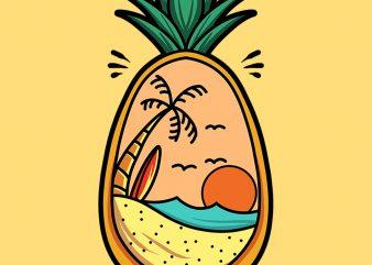pineapple sunset graphic t-shirt design
