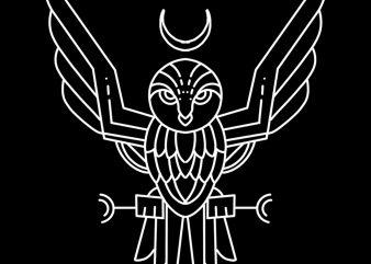 owl line art design for t shirt