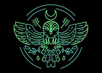 owl line art ready made tshirt design