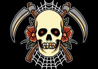 reaper skull print ready t shirt design