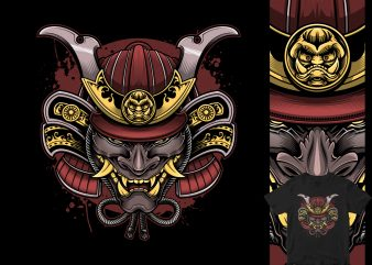 samurai oni mask head commercial use t-shirt design