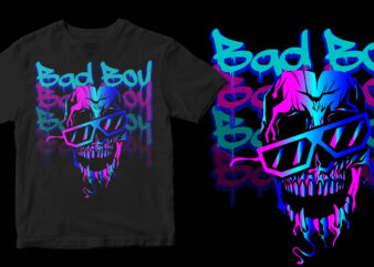 bad boy skull color full t shirt design template