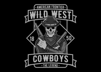 skull cowboy design for t shirt