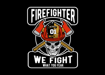 skull firefighter print ready t shirt design