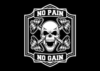 skull gym t-shirt design for sale