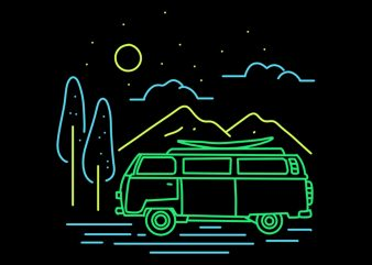 adventure van t shirt design for purchase