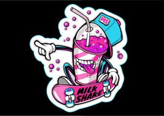 Milk Shake Skateboard print ready t shirt design