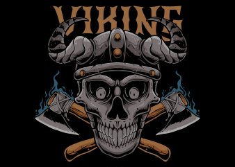 Viking skull t shirt design template
