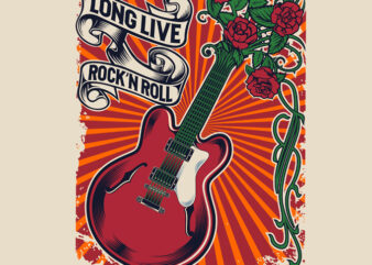 long live rock and roll t shirt design template