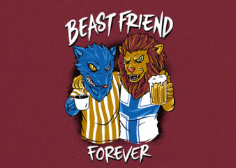 beast friend t-shirt design png