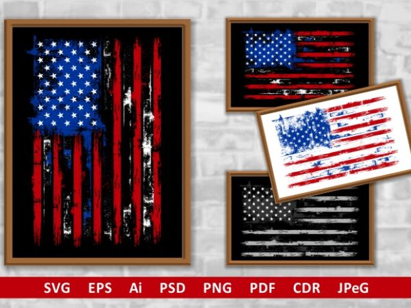 USA Distressed Flag t shirt vector graphic