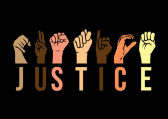 justice hand sign language t shirt design for sale