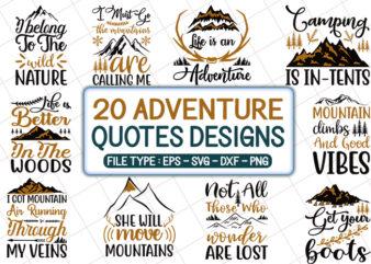 20 Adventure Tshirt Designs Bundle, Mountain Tshirt Designs Bundle, Camping Tshirt Designs Bundle