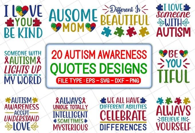 20 Autism Awareness T Shirt Designs Bundle Buy T Shirt Designs