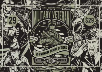 29 Military Veteran Tshirt Designs Bundle
