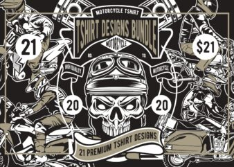 21 Motorcycle Tshirt Designs Bundle