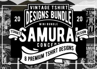 8 Samurai Tshirt Designs Bundle