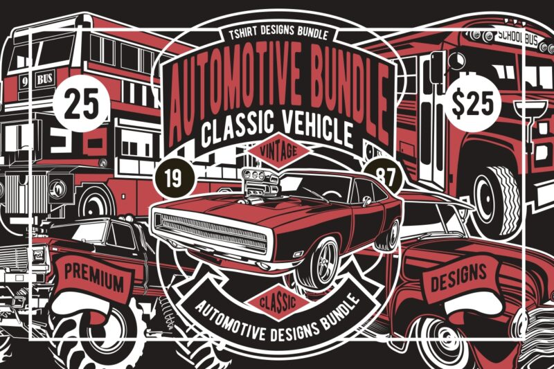 25 Automotive Tshirt Designs Bundle