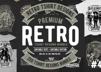 250 Retro Tshirt Design Bundle #4