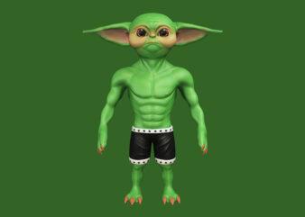 Baby Yoda, Baby Yoda png, Baby Yoda design T-Shirt Design for Commercial Use