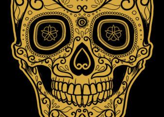 Golden Muerte Skull graphic t-shirt design