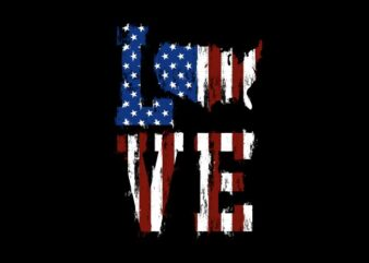 Love American Flag – American Illustration With SVG t-shirt design for sale