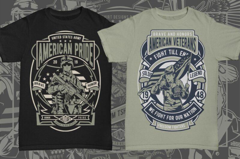 29 Military Veteran Tshirt Designs Bundle