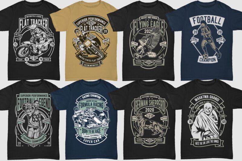 250 Retro Tshirt Design Bundle #4