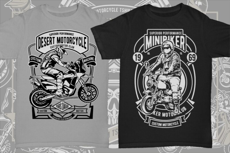 21 Motorcycle Tshirt Designs Bundle