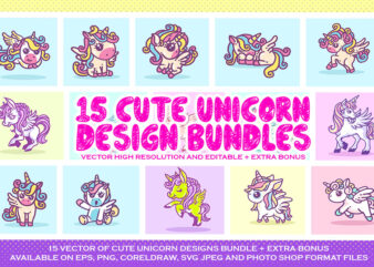 CUTE UNICORN VECTOR DESIGN BUNDLE