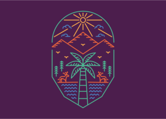 Palm and Outdoor 1 t shirt design template