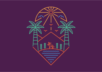 Palm and Outdoor 3 commercial use t-shirt design