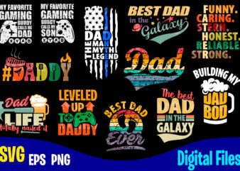 12 designs bundle Father's day for print on dark, Dad, Father day, Funny Fathers day designs bundle svg eps, png files for cutting machines and print t shirt designs for sale