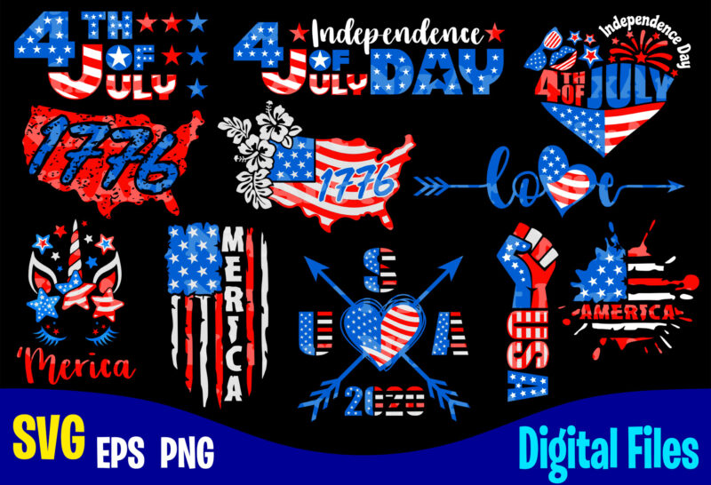 11 designs bundle, 4th of July Independence day for print on dark, USA svg, USA Flag, Stars and Stripes, Patriotic, America, Independence Day design svg eps, png files for cutting machines and print t shirt designs for sale t-shirt design png