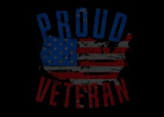Proud Veteran US Map Flag ready made tshirt design