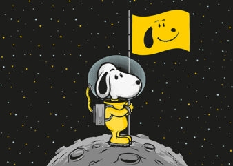 Snoopy Moon Landing design for t shirt t-shirt design for sale