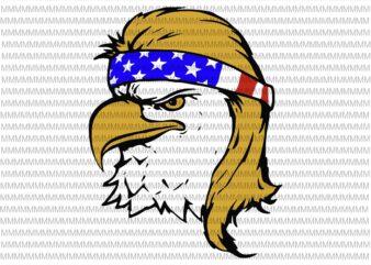 4th of july svg, Bald Eagle with Mullet svg, Redneck Eagle, Merica, Eagle 4th of july svg, independence day shirt design png design for t shirt