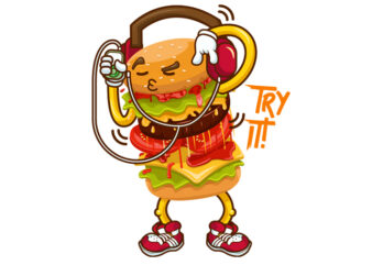 tray it burger graphic t-shirt design