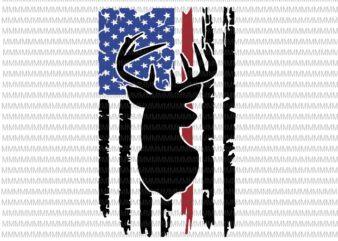 Deer hunt flag svg, 4th of July svg, Deer distressed flag svg, deer flag svg, deer svg, deer American flag svg, hunting deer svg t shirt design for purchase
