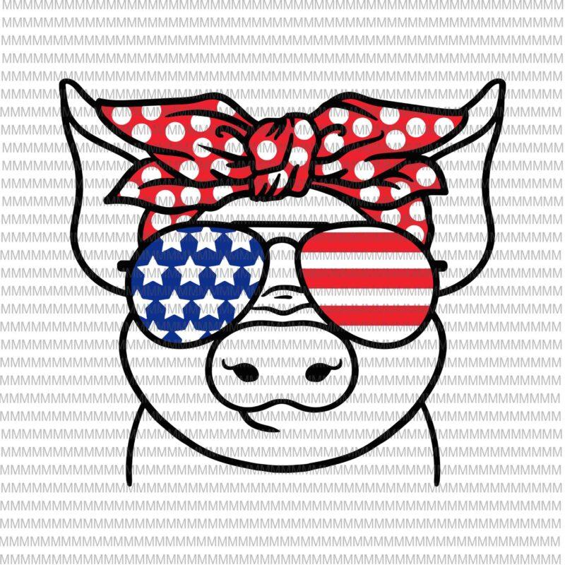 Silhouette Farm SVG sublimation design July 4th Flag SVG files for Cricut Patriotic Pig SVG