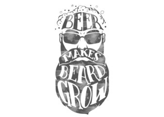 beer beard t shirt design template