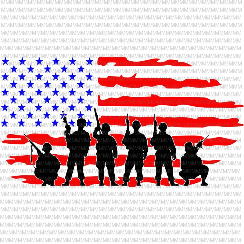 Soldiers With American Flag Cut File , Flag svg, Memorial Day, 4th of July, Independence Day svg, American flag svg, patriotic, t shirt design to buy